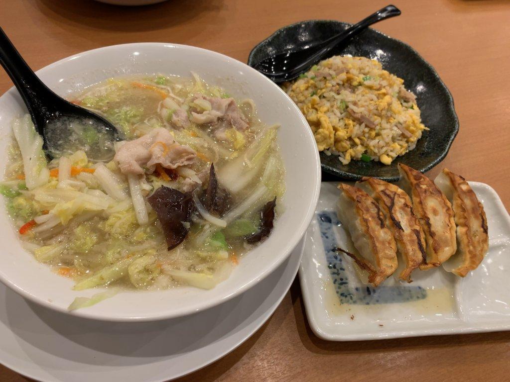 桶狭間タンメンのチャーハンセットと餃子